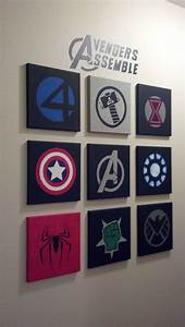 Marvel avengers wall art made out of 10x10 canvases and for Marvel wall art