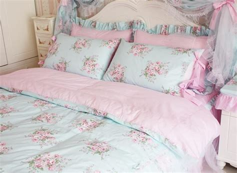 shabby chic king bedding king queen full twin princess shabby floral chic blue duvet comforter cover set