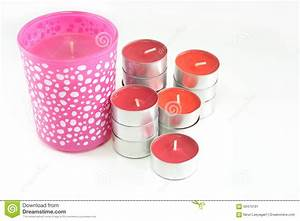 Red And Pink Candles On White Background Stock Image ...