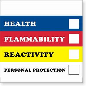 vinyl chemical labels 8 in x 8 in sku d1711 With hmis label colors