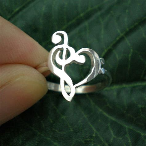 music note love heart ring treble clef ring bass clef ring