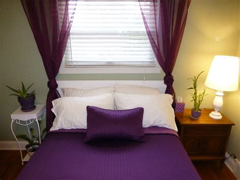 Color Designs For Bedrooms With Romantic Purple Curtain