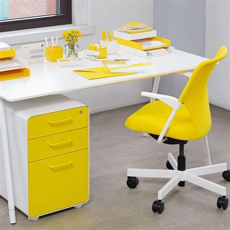 Yellow Office Desk yellow poppin desk accessories file cabinet 5th avenue