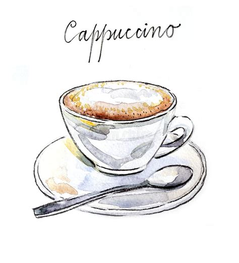 More royalty free illustration free download for commercial usable,please visit. Watercolor Coffee Cappuccino Stock Vector - Illustration of watercolor, morning: 57605179