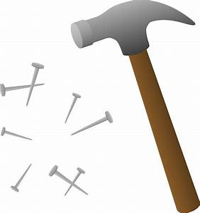 Hammer With Scattered Nails - Free Clip Art