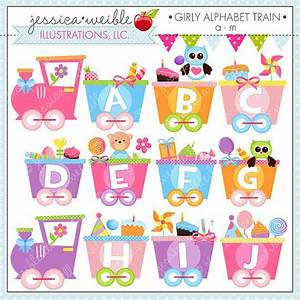 girly alphabet train a m cute digital clipart for With train letters baby
