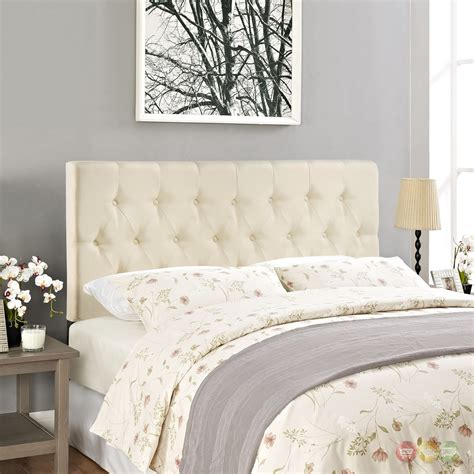 King Headboard by Clique Casual Button Tufted Upholstered King Headboard Ivory