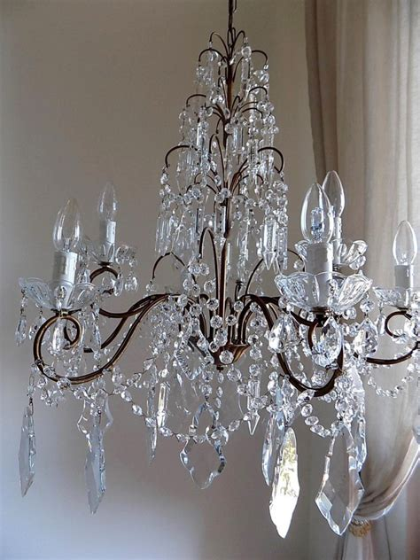 Chandelier Glass Crystals by Italian Vintage 9 Arms Chandelier With Shaped