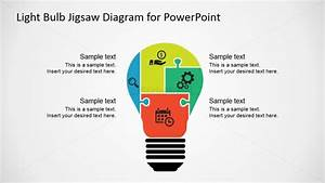 Light Bulb Four Steps Diagram For Powerpoint