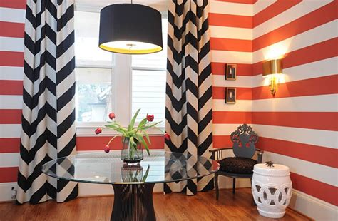 chevron pattern drapes warren platner furniture side tables chairs and dining