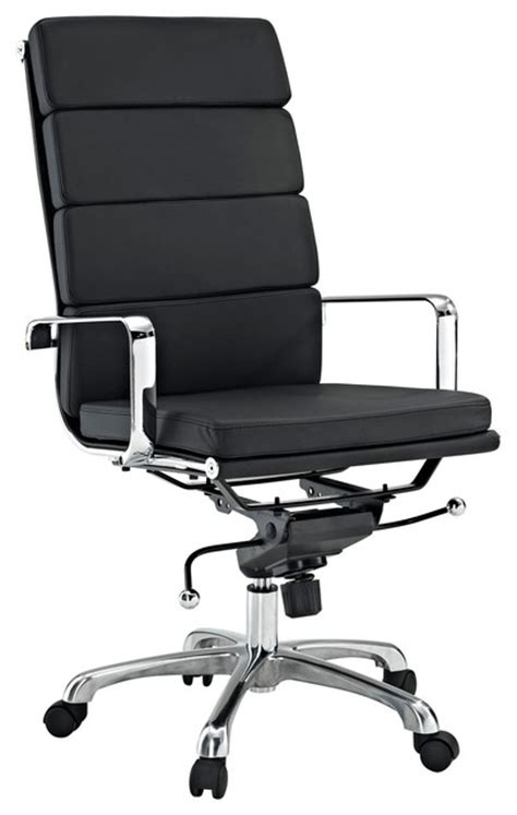 high back office chair in black vinyl modern