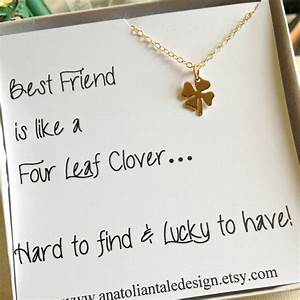 Four Leaf Clover Necklace Best Friend Gift by ...