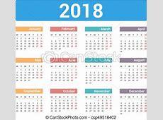 Calendario, 2018 Semana, eps10, comienzos, lunes