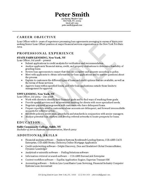 Loan Officer Resume by Loan Officer Resume Exles Resume Professional