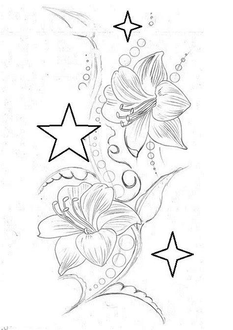 lilies  stars tattoo drawings tattoo drawings