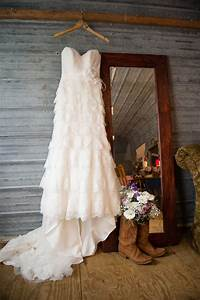 a casual outdoor wedding with a country twist in With country wedding dress with boots