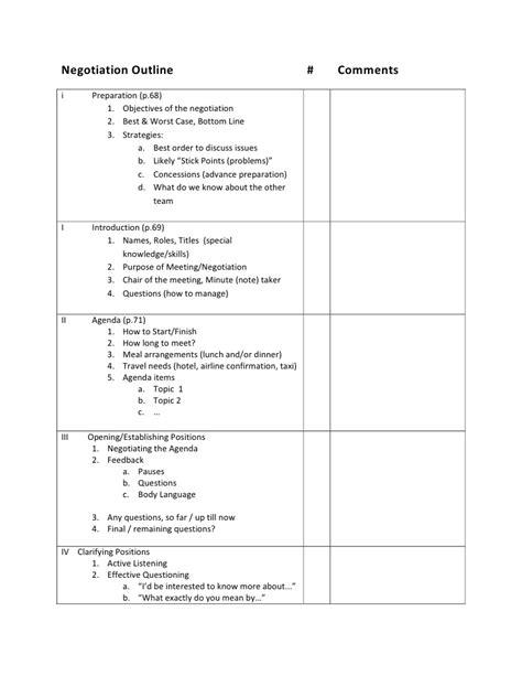 contract negotiation template negotiation outline be ii