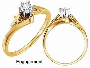 Gold Religious Diamond Cross Engagement Ring #1381e