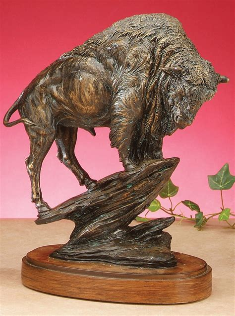 Bronze Style Buffalo Sculpture