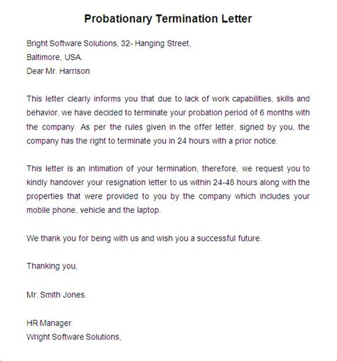Employment Probation Letter Template by 23 Free Termination Letter Templates Pdf Doc Free