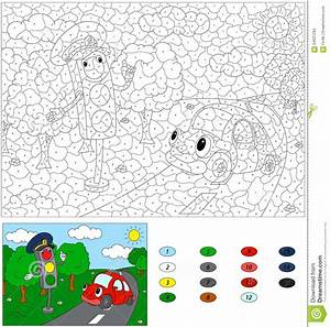 Color By Number Educational Game For Kids. Cartoon Traffic ...