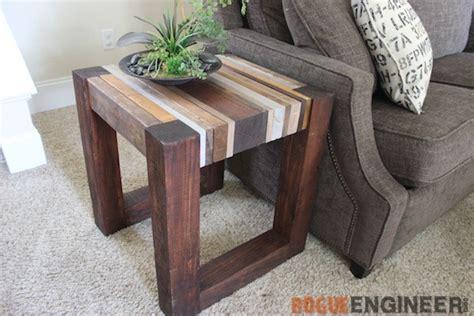 diy wood end table scrap wood side table free diy tutorial rogue engineer