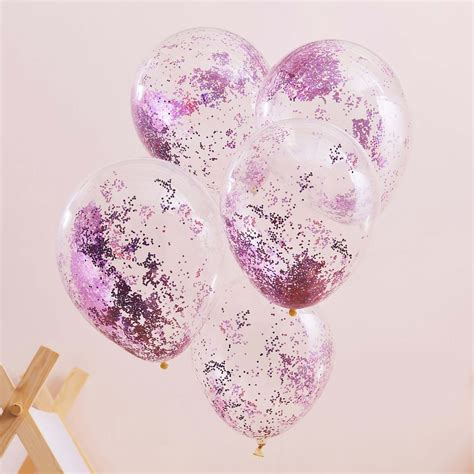 Pink Pamper Party Glitter Balloons (5) - Tether & Float