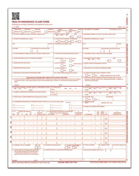 cms 1500 template health insurance claim form laser 250 pk