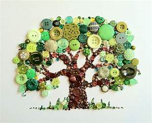Hand Crafted Tree Of Life Button Art With Swarovski