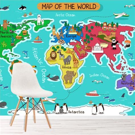cartoon animal world map wall mural map wallpaper kids