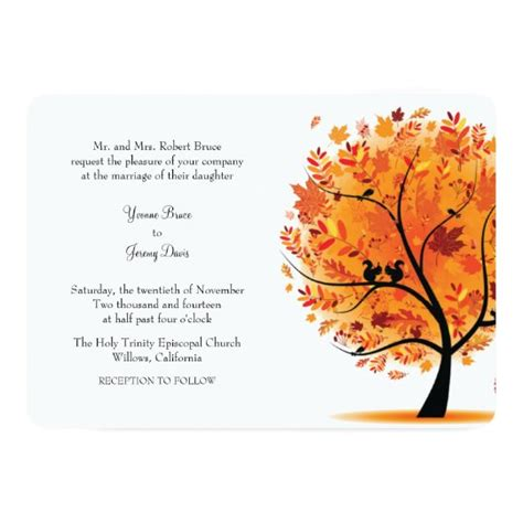 Fall / Autumn Tree Wedding Invitation Zazzle com