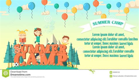 summer camp flyer template summer camp flier illustration stock illustration image