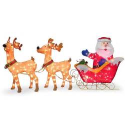 3pc tinsel santa sleigh reindeer christmas outdoor lighted decoration ebay