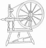 Spinning Wheel Coloring Digital Outline Template Wheels Templates Stamps Pages Stamp sketch template
