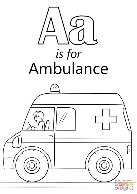 ambulance coloring pages letter a is for ambulance coloring page free printable