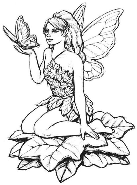 Fairy Coloring Pages for Adults Coloring Page Base