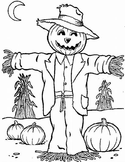 Scarecrow Coloring Pages Printables Halloween Getcoloringpages