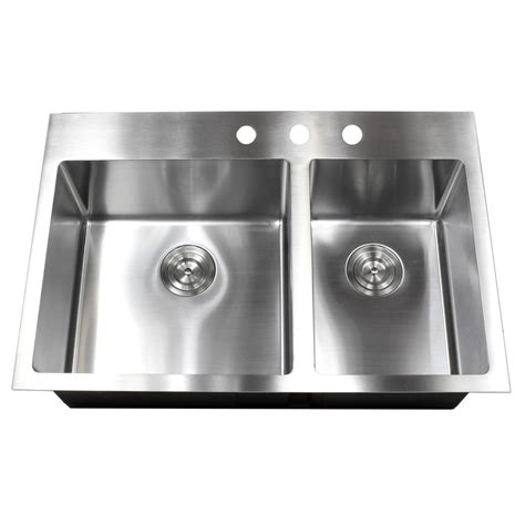 33 Inch TopMount  DropIn Stainless Steel Double Bowl