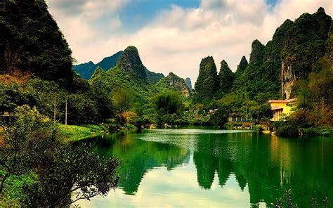 Nature Green Lake Hd Wallpaper : Wallpapers13.com