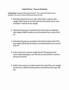 Grade 8 Science  U2013 Pressure Worksheet Instructions