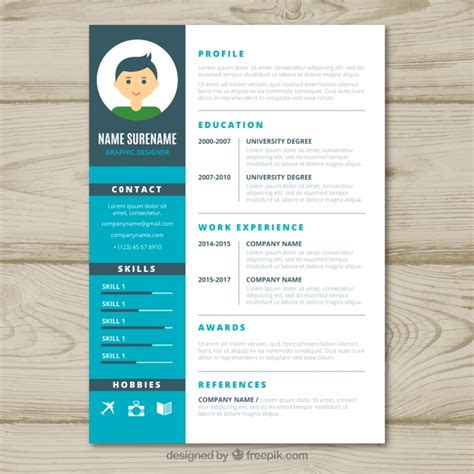 Graphic Design Resume Template Graphic Designer Cv Template Vector Free