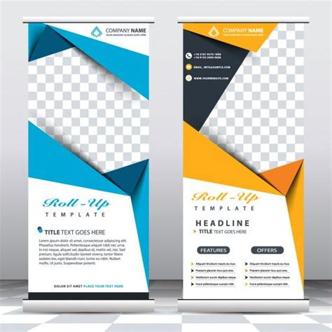 retractable banner template blue and yellow roll up templates free vector graphic design template graphics