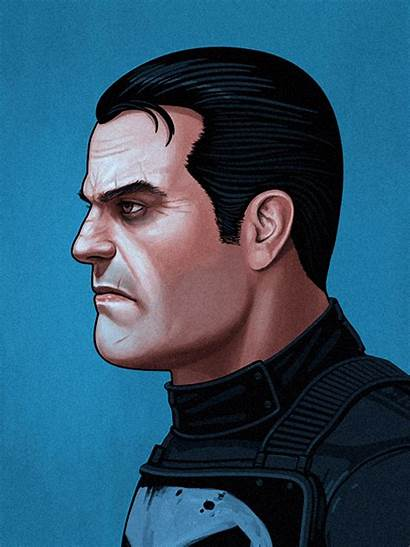Marvel Mike Mitchell Portraits Punisher Hero Illustrations
