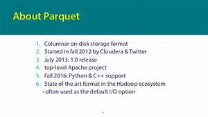 pydata london 2017 efficient and portable dataframe With apache parquet