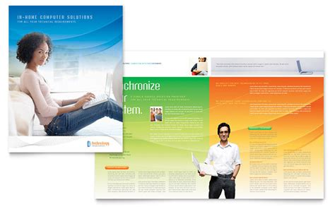 computer  services brochure template word publisher