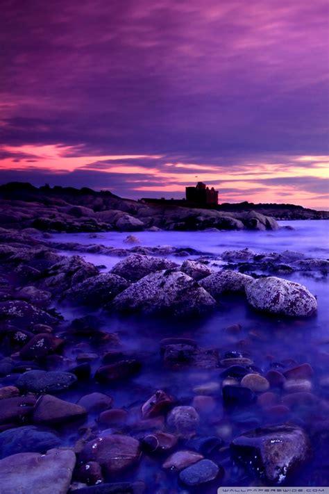 violet clouds  blue water  hd desktop wallpaper