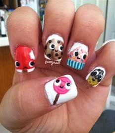 Funny nail art design ideas with cute desserts cartoon
