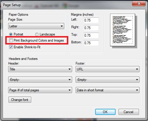 Printing Web Page Background Colors And Images Directory Print Support