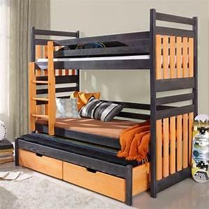 lit enfant superpose sambor avec lit gigogne 3 couchages With suspension chambre enfant avec matelas 4 places