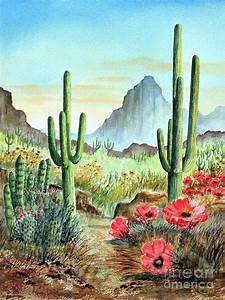 Desert Cacti - After The Rains Painting by Bill Holkham